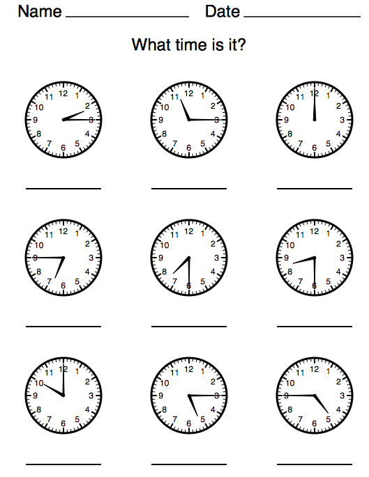 Analogue Time Worksheet Creator