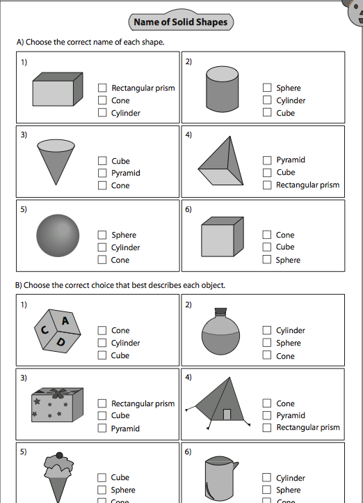 2D and 3D Shapes Games for Foundation and KS1 – Solid Shapes Worksheet