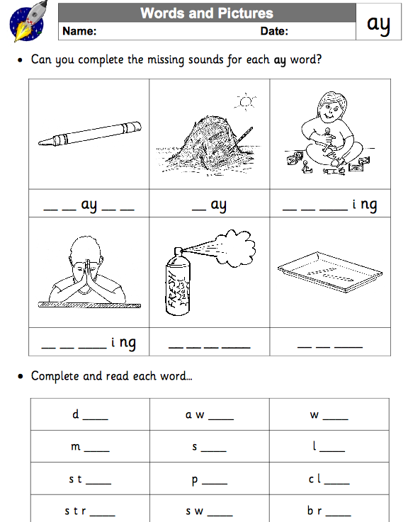 Phonics Lessons EYFSReception Long a sound – Ai and Ay Worksheets