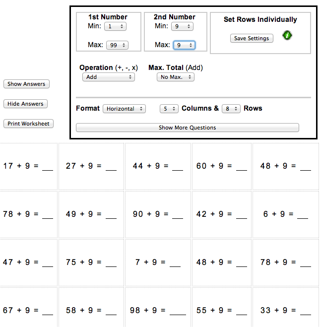 Maths worksheet: adding 9 | Maths Blog