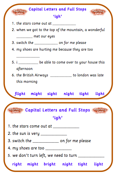 igh Sound Games and Lesson Ideas for EYFS : igh worksheets ...