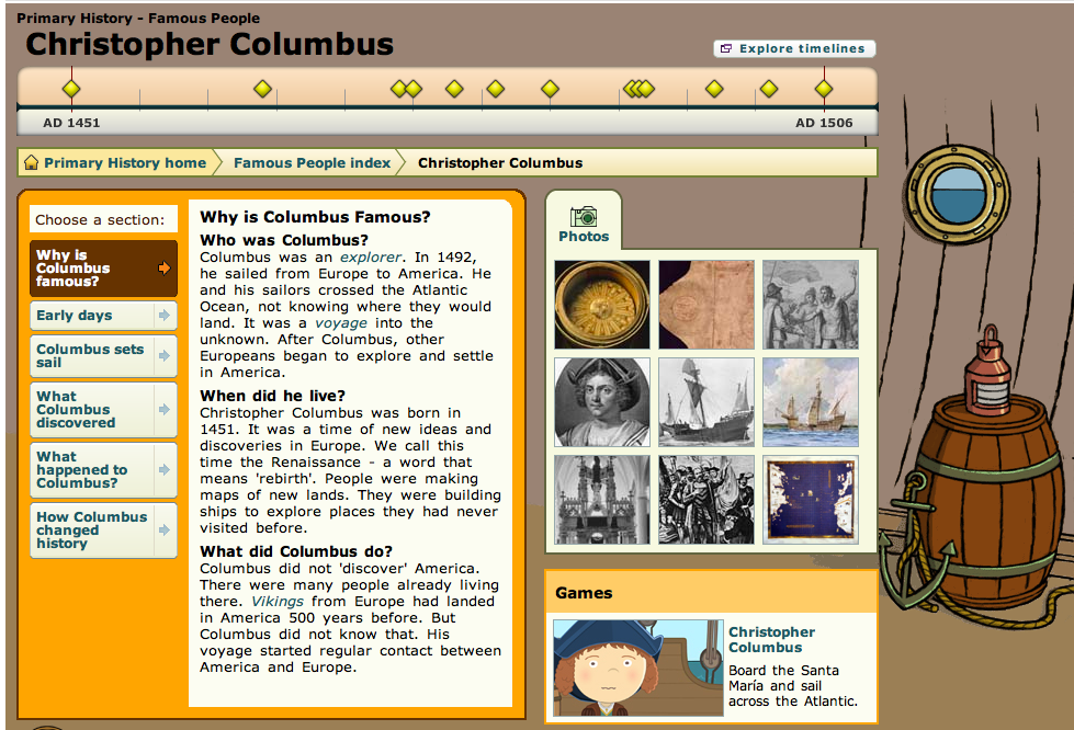 Christopher columbus teaching resources ks1 and ks2 timeline and information ibookread Read Online