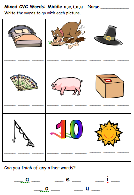 Cvc Word Worksheets For Reception And Year 1 Initial