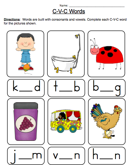 CVC Word Worksheets for Reception and Year 1 : Initial ...
