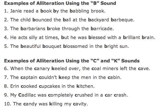5 Examples Of Alliteration Sentences Gallery - example of