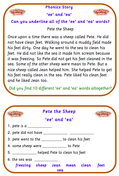 Ee And Ea Worksheets And Flashcards Ee And Ea Phonics Resources For Year 1 And Year 2 Teachingcave Com