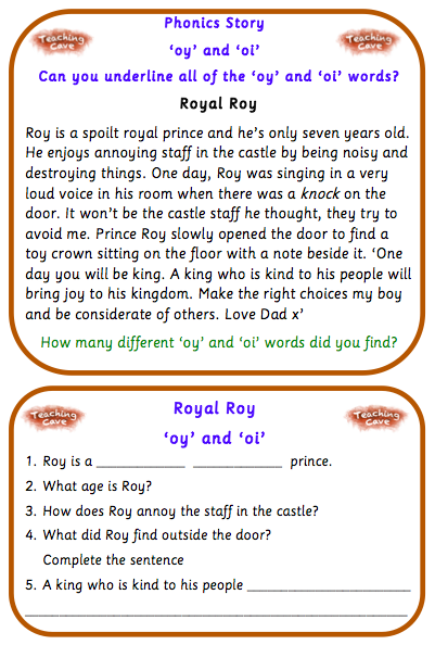 Oy And Oi Phonics Games And Worksheets Oi And Oy Sound Oi And Oy Words Worksheet Royal Roy \u0027oy\u0027 And \u0027oi\u0027 Phonics Story