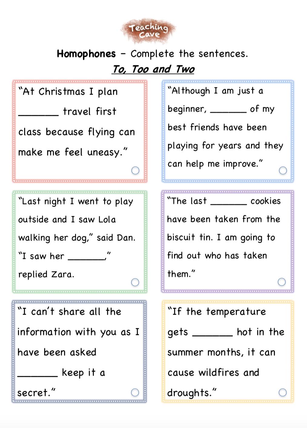 Homophones - TeachingCave.com - TeachingCave.com Throughout To Too Two Worksheet